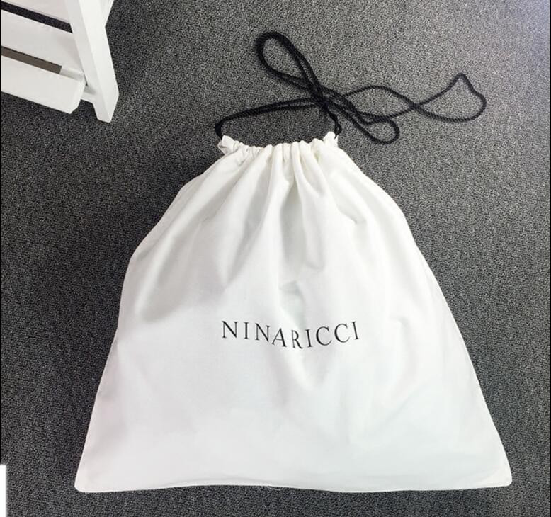 white drawstring custom bag